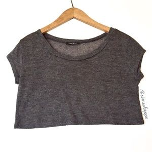Dark Gray Knit Crop Top